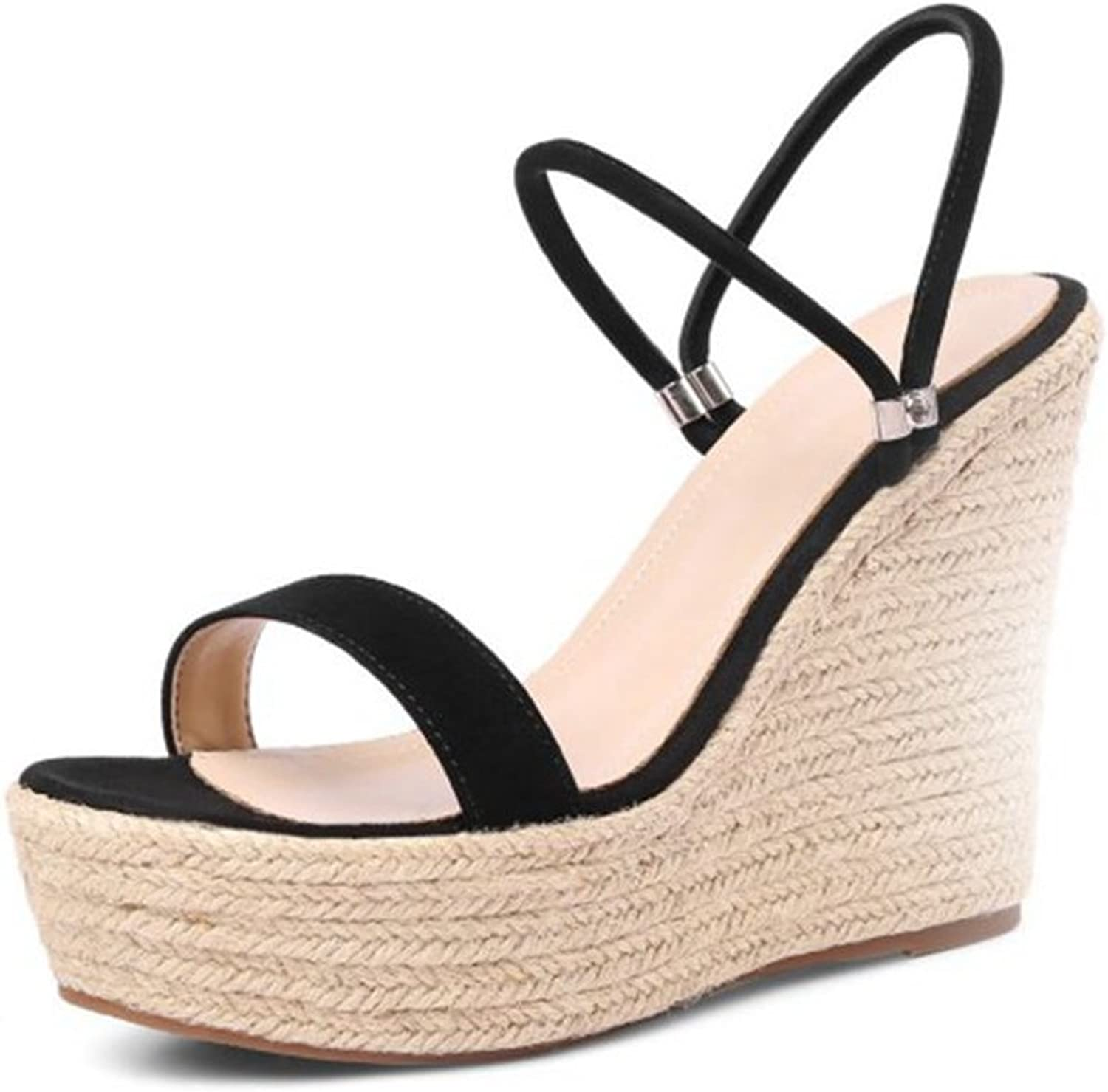 Womens Sandals High Heel Peep Toe Platform Ankle Strap Fretwork Wedges shoes