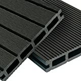 WPC Terrassendielen Basic Line - Komplett-Set Dunkelgrau | 16m² (4m x 4m) Holz-Brett Dielen | Boden-Fliesen + Unterkonstruktion & Clips | Balkon Boden-Belag + rutschfest + witterungsbeständig