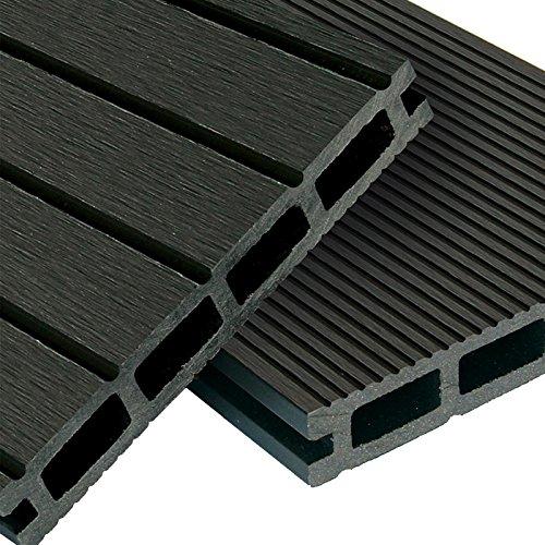 WPC Terrassendielen Basic Line - Komplett-Set Dunkelgrau | 12m² (4m x 3m) Holz-Brett Dielen | Boden-Fliesen + Unterkonstruktion & Clips | Balkon Boden-Belag + rutschfest + witterungsbeständig
