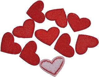 YNuth DIY 10pcs Parches Termoadhesivos Bordados del Diseño de Corazón para Decoración de Ropas Apliques Iron on Patch Colo...
