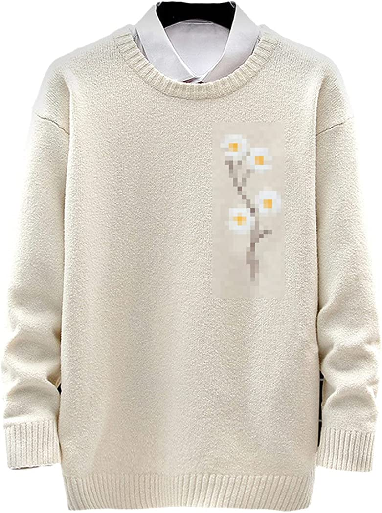 Mens Knitted Sweater Autumn Winter Pullover Flower Jumper Casual Loose Sweaters Daisy Embroidery
