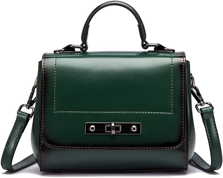 BAACHANG Umhängetasche für Frauen Vintage Echtem Leder Leder Leder Top Griff Tote Geldbörsen Schulranzen Handtasche (Farbe   Grün) B07LG6X63Z  Luxus 062858