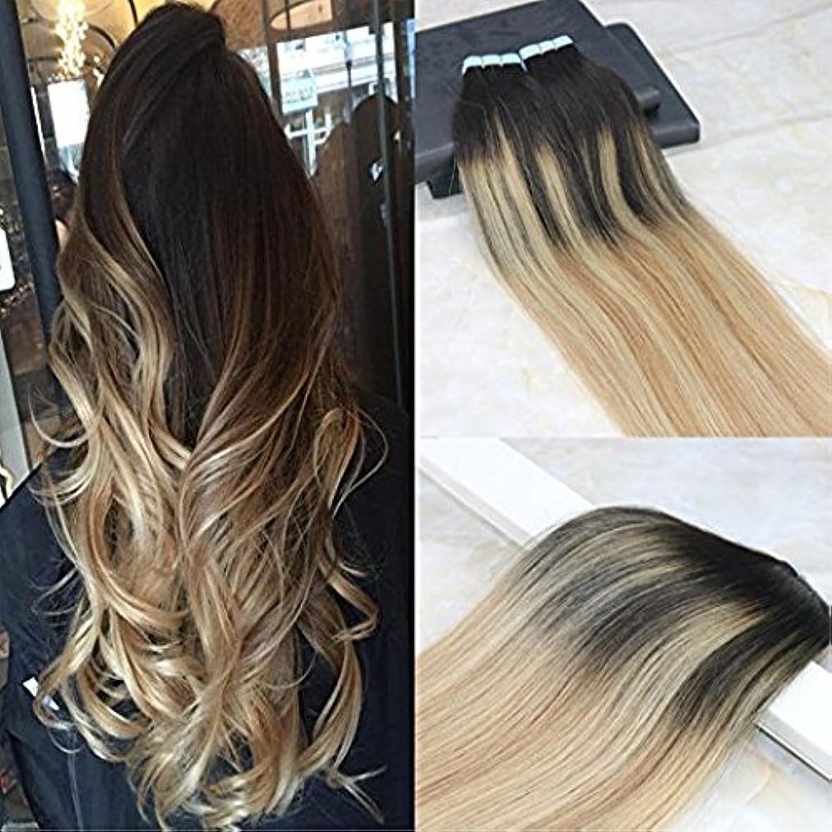 オープナー逆さまに毎日HairDancing 45cm Tape in Remy Hair Extensions Balayage Hair Color Dark Brown #2 Fading to #12 Mixed #613 Bleach Blonde Seamless Skin Weft Hair Extensions Remy Human Hair 50g/20pcs Full Head Set