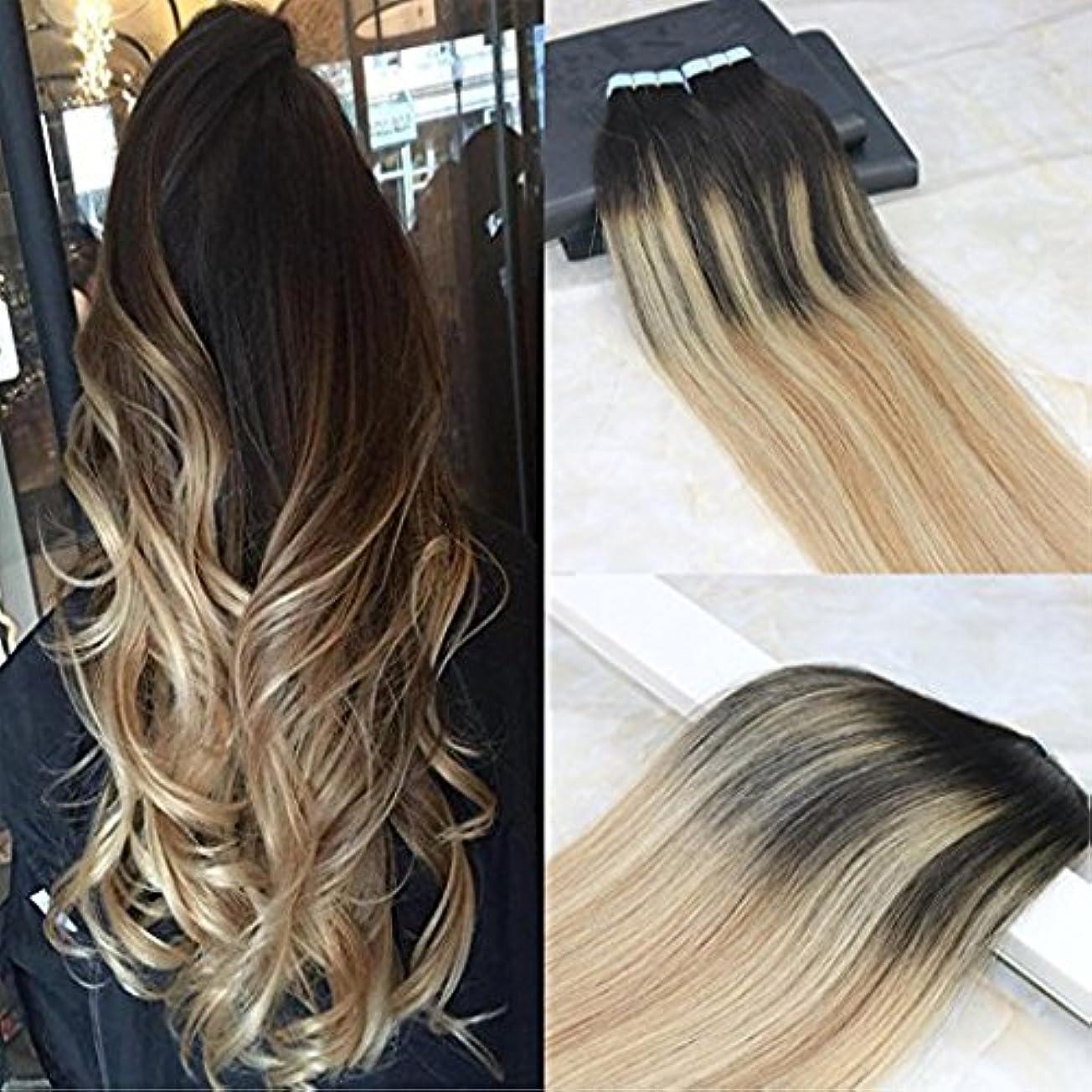 インキュバスレンチ座るHairDancing 45cm Tape in Remy Hair Extensions Balayage Hair Color Dark Brown #2 Fading to #12 Mixed #613 Bleach Blonde Seamless Skin Weft Hair Extensions Remy Human Hair 50g/20pcs Full Head Set