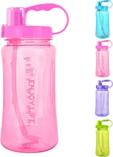GTI Large Capacity Sports Water Bottle, BPA Free Wide Mouth Portable Big Plastic Bottle Leak Proof Space Cup Travel Mugs with Scale Straw Strap