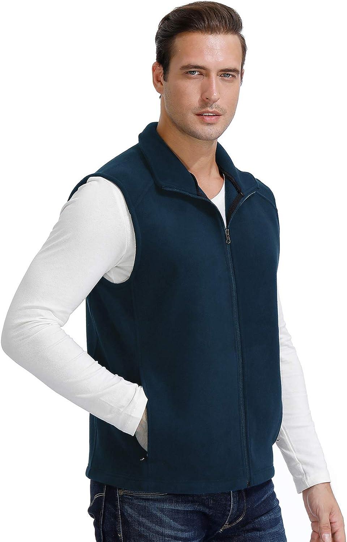 Mens Fleece Vest Full Zip Outdoor Windproof Water-Resistant Active Sleeveless Vest with 4 Pockets