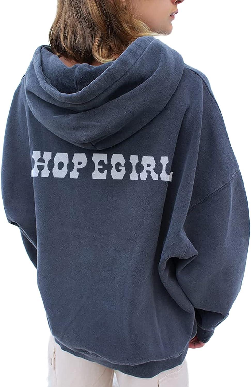 Women Y2k Oversized Hoodies Casual Vintage Printed Pullover Sweatshirt Hoodie Lightweight Loose Fit Hooded Top