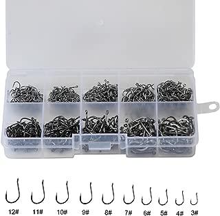 500pcs Small Fishing Hooks Black High Carbon Fishing Hooks Set 10 sizes with a Plastic Box