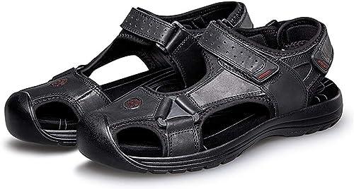 Sandales Hommes Pour des hommes Boucle Sandales Marche Crochet et Boucle Sangle Cuir supérieure Orteil fermé Mode Décontracté Chaussures de Plage d'été Confortable