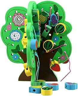 人気 玩具 色のビーズゲーム、大レーシングビーズセット、ビーズストリンギング教育弦の張り玩具、大きな木の森の動物のブロック30個 (色 : マルチカラー, サイズ : 29.5x22x4cm)