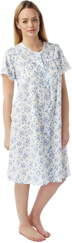 Women O-Neck Short Sleeve Floral Button Nighties Sleepwear Dress H1PS 01
