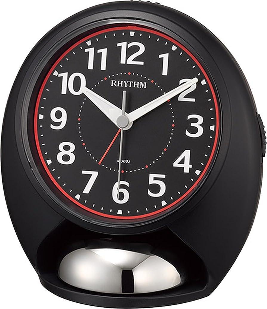 精算結晶アドバイスリズム時計 目覚まし時計 大音量 アナログ タフバトラーラウド ステップ秒針 ベル音 ライト 黒 RHYTHM 4RA480SR02