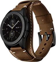 20mm Genuine Leather Cuff Watch Band,Compatible with Standard 20mm Lug Watch,Replacment Watch Band for Galaxy Watch 42mm,Fossil Men's Gen 4 Sport(All 20mm Band Width Watch),Coffee