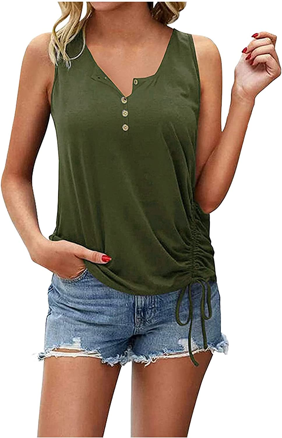 ManxiVoo Women Casual Button Down Round Collar Sleeveless Drawstring Ruched Side Tank Top Blouse Shirt