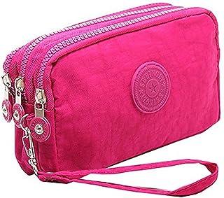 Fuerton Multifunction Three Layer Zipper Nylon Wallets for Women Wristlet Bag Purse Waterproof Cell Phone Pouch Handbag