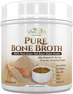 Viva Deo,YouAlreadyKnow Grass Fed Bone Broth Protein Powder | Antibiotic & Hormone Free | Tasteless Keto Diet Paleo Protein Powder w/Naturally Occurring Collagen Glucosamine & 19