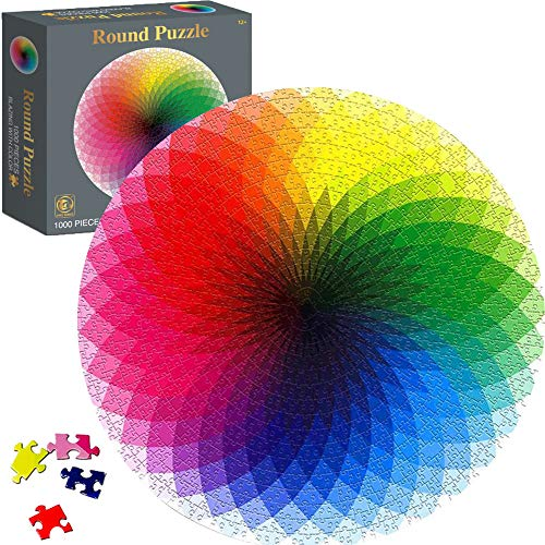 Jigsaw Puzzles 1000 Pieces for Adults Puzzle Gradient Color Rainbow Large Round Puzzle Challenging Game Artwork Educational Toys Gift for Adults Teens Toddler Kids 26.57x 26.57 Inch
