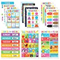 Educational Posters for Classroom Decor & Kindergarten Homeschool Supplies – Baby to 3rd Grade Kids, Laminated PreK Learning Chart Materials – US & World Map, ABC Alphabet, Shapes & More (16 Posters)
