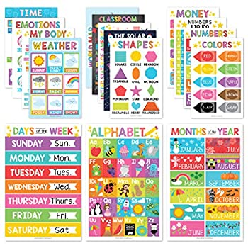 16 Educational Posters for Classroom Decor & Kindergarten Homeschool Supplies Baby to 3rd Grade Kids Laminated PreK Learning Chart Materials – US & World Map ABC Alphabet Shapes Days of The Week