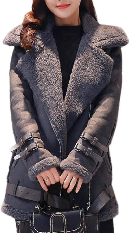 QDCACA Women Casual Warm Suede Oblique Zipper Bomber Parkas Jacket