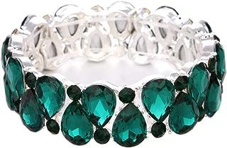 Bridal Austrian Crystal Teardrop Knot Elastic Stretch Bracelet for Brides Wedding Party