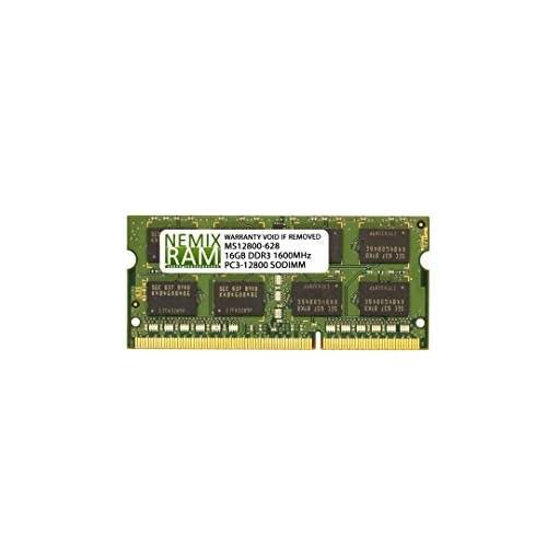 16GB (1x16GB) DDR3-1600MHz PC3-12800 2Rx8 SODIMM Laptop Memory