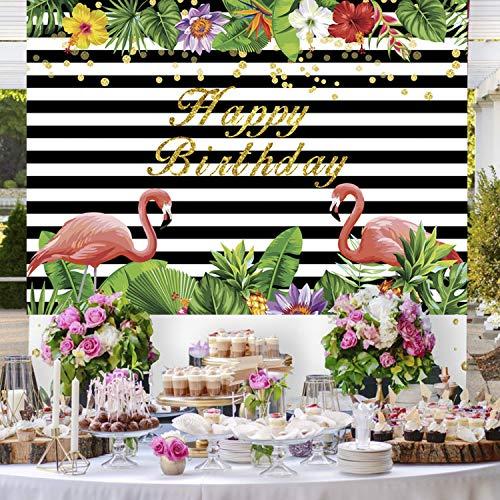 1.5 * 2m Verano Flamingo Party Telón de fondo Flores tropicales hawaianas Fotografía Fondo Cumpleaños Recién nacido Baby Shower Banquete de boda Banner Decoración Photo Studio Props (1)