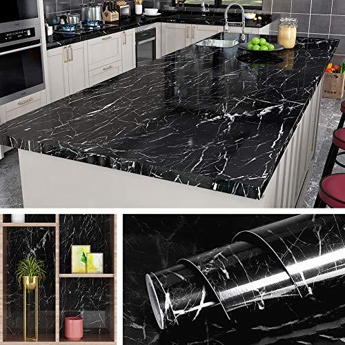 Livelynine 5M X 60 CM Breit Klebefolie Schwarz Marmor Folie für Möbel Tisch Tischplatte Küchenwand Küchen Arbeitsplatten Schminktisch Arbeitsplatte Küche Mamorfolie Schwarze Klebefolie Marmoroptik