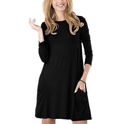 f57cdc2947f6 TINYHI Women s Casual Plain Fit Flowy Simple Swing T-Shirt Loose Tunic Dress