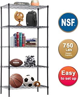 "Wire Shelving Unit with Wheels Metal Shelf Organizer Heavy Duty Wire Rack Storage Unit NSF Certification Commercial Grade Rack Utility for Bathroom Office Kitchen (14"" Dx24 Wx60 H)"