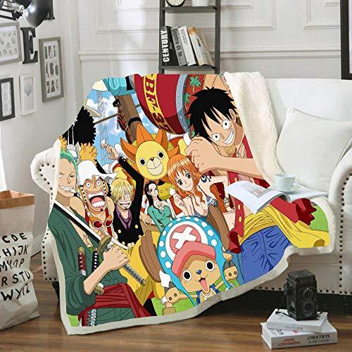 SSLLC Anime Boys One Piece Chapeau De Paille Luffy Jeter Couverture en Laine Polaire Ultra Douce pour Enfants Garçons Adultes pour Chambre Salon Canapé (A13,100X140CM)