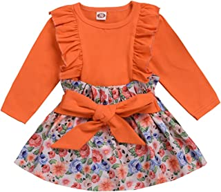 Newborn Baby Girls Clothes Long Sleeve Ruffle T-Shrit Tops Suspender Floral Skirt Dress Overalls Outfit Set