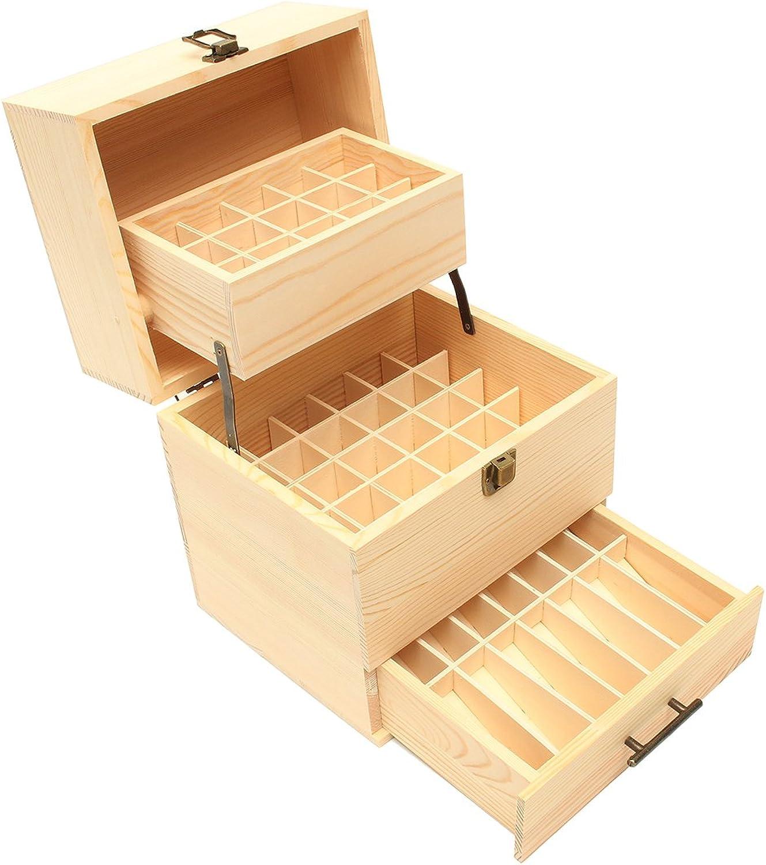 QIZIANG 59 Steckplätze für ätherisches Öl Aufbewahrungsbox aus Holz mit Aromatherapie-Organizer 3 Reifen Hot B07Q3BWZHX  Mode dynamisch
