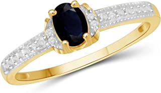 Jewelexcess 0.60 Carat T.G.W. Sapphire and 1/20 CTW White Diamond 14KT Gold Over Silver Ring