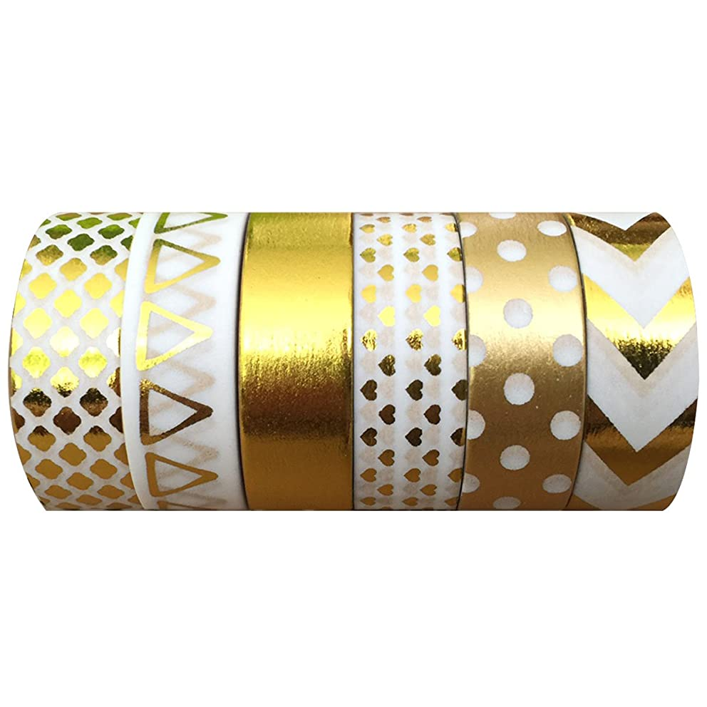 AllyDrew Gold Foil & White Washi Tapes Decorative Masking Tapes (AD101), set of 6