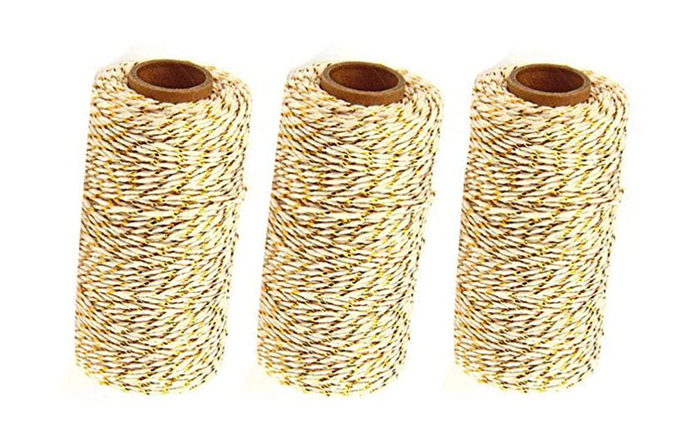 3 Rolls 2mm Two-Color Gold Wire Combined Cotton Thread 109 Yards/Roll String Durable Rope for Gardening Decoration DIY Crafts and Gift Wrapping (Gold Wire + Beige)
