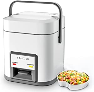 TLOG Mini Rice Cooker 2-Cup Uncooked(4-Cup cooked), 1.2L Small Rice Cooker for 1-2 People, Portable Travel Rice Cooker with Steamer, Auto Keep Warm, Rice Maker for Grains, White Rice, Oatmeal, Veggies