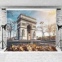 新しい2.1×1.5mの写真の背景秋の凱旋門の背景子供や結婚式の写真スタジオの綿の背景のための青い空の葉