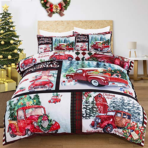 Christmas Duvet Cover Set Queen 3 Pieces Red Truck Christmas Tree Snowflake Pattern Printed Bedding Duvet Cover with Zipper Closure, Merry Christmas Microfiber Bedding Set 90'x90'