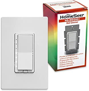 HomeSeer HS-WD200+ Z-Wave Plus Scene-Capable Smart Dimmer Switch w/RGB LED indicators | Built-in Repeater Range Extender | Works with Alexa, Google Home & IFTTT (Hub Required) | Works With SmartThings