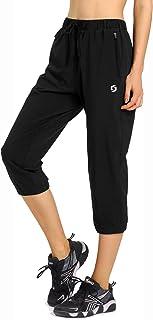Spowind Womens Lightweight Jogger Capri Pants Quick Dry Workout Running Capris Sun Protection UPF 50+ Zipper Pockets