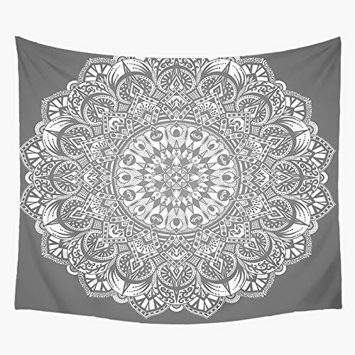 jtxqe Tapiz Decorativo Manta impresión Mandala Blanco y Negro impresión hogar Pared Colgante decoración de Pared Toalla de Playa Playa 150x200 cm