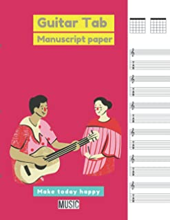 Guitar Tab Manuscript Paper Rasberry cover, 100 pages - Large(8.5 x 11 inches)