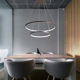 NovelyシャンデリアLedランプ調光可能ペンダントライト高さ調節可能ブラウンアルミニウムシャンデリア2リングラウンドベッドルームシーリングランプリビングルームハンギングランプホワイトアクリルフィクスチャーオフ