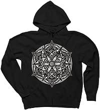 Design By Humans Seal of Solomon Sacred Geometry Mandala/Solid Men's Graphic Zip Hoodie