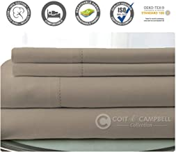 500 Thread Count 100% Cotton Sheet Set (Taupe, TwinXL) 3 Pieces Sheet Set. Long Staple Combed Pure Natural Cotton Bedsheet, Soft & Silky Sateen Weave