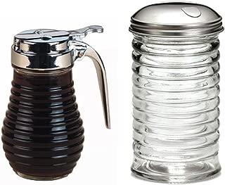 Tablcraft 12 oz Beehive Sugar Pourer and American Metalcraft (BSD64) 6 oz Beehive Syrup Dispenser Breakfast Bundle