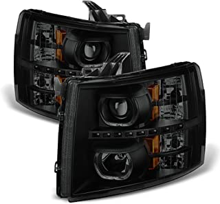 ACANII - For Black Smoke 2007-2013 Chevy Silverado 1500 2500 3500HD Headlights LED Halo Lamps Driver + Passenger Side