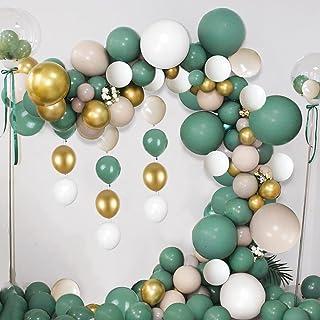 GEEKEO Arche Ballon Decoration Anniversaire Kit, Chaîne De Ballon Décoration Fête Blanche Verte d'or 102 Pièces, Jungle Fo...