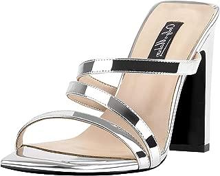 Women's Chunky High Heel Slide Sandals Squre Open Toe Slip On Strap Heeled Sandals Slippers for Summer Casual Dress Wedding